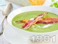 Рецепта Пасирана крем супа от спанак и картофи с бекон, сметана и прясно мляко